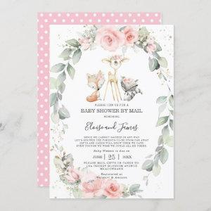 Woodland Blush Floral Greenery Baby Shower by Mail Invitation
