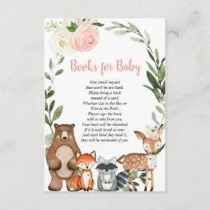 Woodland blush pink book request girl baby shower enclosure card