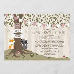 Woodland Creature Social Distance Pink Baby Shower Invitation