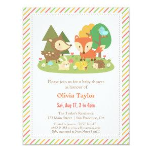 Woodland Creatures Animal Baby Shower Invitation
