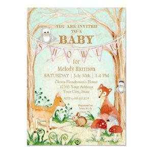 Woodland Creatures Animals Deer Fox Rabbit Owl Art Invitation