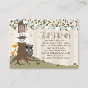 Woodland Creatures Baby Boy Book Request Enclosure Card