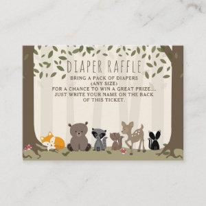 Woodland Creatures Baby Diaper Raffle Enclosure Card
