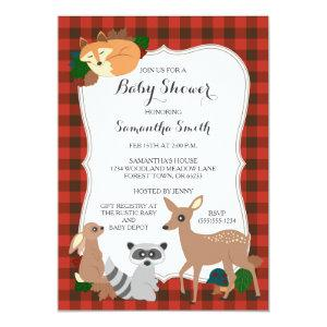 Woodland Creatures Baby Shower Buffalo Plaid Invitation