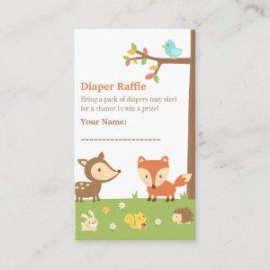 Woodland Creatures Baby Shower Diaper Raffle Enclosure Card