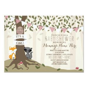 Woodland Creatures Baby Shower - Girl Invitation