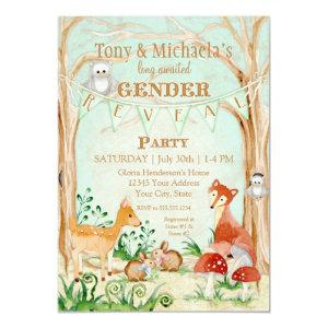 Woodland Creatures Gender Reveal Deer Fox Owl Invitation