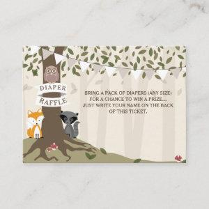Woodland Creatures Neutral Diaper Raffle Enclosure Card