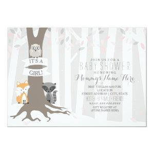 Woodland Creatures Winter Baby Shower - Girl Invitation