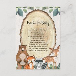 Woodland cute animals book request baby shower enclosure card