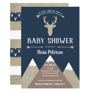 Woodland Deer Baby Shower Invitation, Burlap Invitation