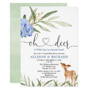 Woodland deer blue greenery couples baby shower invitation