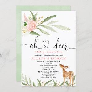 Woodland deer pink gold green couples baby shower invitation