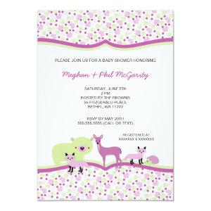 Woodland Forest Animals Baby Shower GIRL Invite