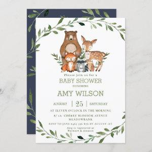 Woodland Forest Animals Baby Shower Greenery Invitation