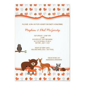 Woodland Forest Animals Baby Shower neutral Invite