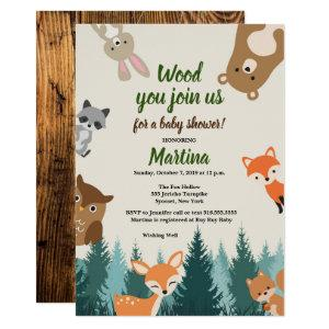 Woodland Forest Animals Greenery Baby Shower Invitation