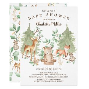 Woodland Forest Animals Neutral Baby Shower Invitation