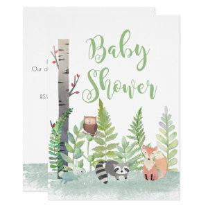 Woodland Forest Baby Animals Baby Shower Invites