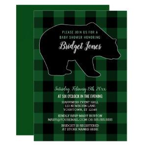 Woodland Forest Bear Lumberjack Plaid Baby Shower Invitation