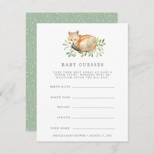 Woodland Fox Baby Shower Guessing Game Invitation