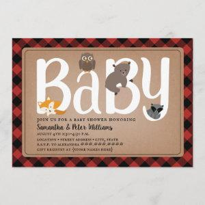 Woodland Friends Buffalo Plaid Baby Shower Invitation