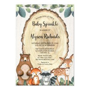 Woodland gender neutral greenery baby sprinkle invitation