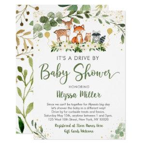 Woodland Greenery Drive By Baby Shower Invitation