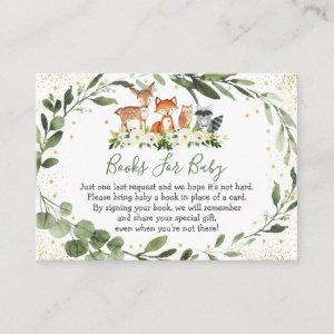 Woodland Greenery Forest Animal Book Request Enclosure Card