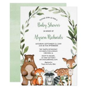 Woodland greenery gender neutral cute animals baby invitation