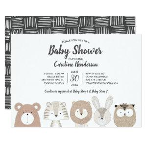 Woodland & Jungle Animals Baby Shower Invitation