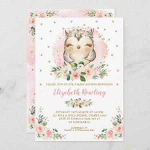 Woodland Owl Pink Gold Floral Girl Baby Shower Invitation