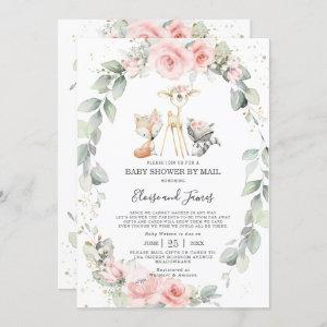 Woodland Pink Floral Greenery Baby Shower by Mail
