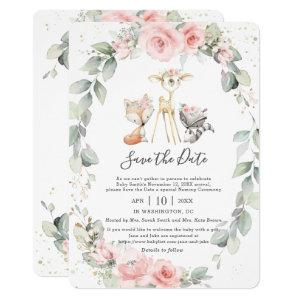Woodland Pink Floral Save the Date Baby Naming Invitation