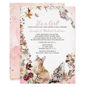 Woodland Pink Girl Fox Bunny Baby Shower By Mail Invitation