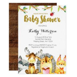 Woodland Rustic Creatures Baby Shower Invitation
