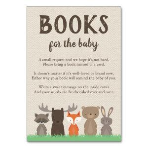 Woodland Themed Bring a Book Cards for Baby Shower