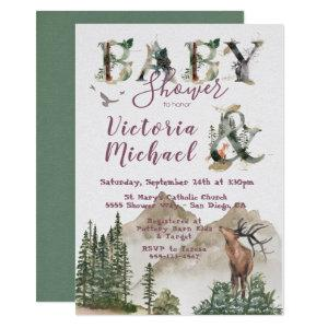 Woodland Watercolor Forest Mountain Baby Shower Invitation