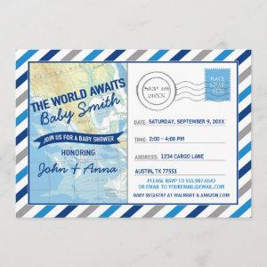 World Awaits Baby Shower Invitation Blue Postcard
