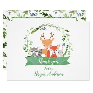 Wreath Woodland Animals Thank You Card