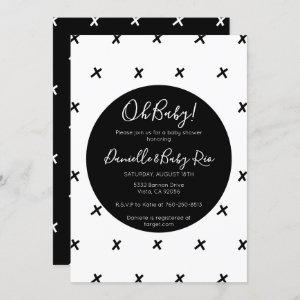 X's Modern baby shower black and white pattern Invitation