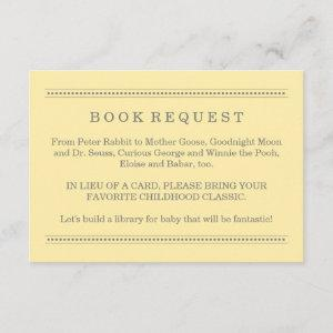 Yellow and Gray Baby Shower Book Request Enclosure Card
