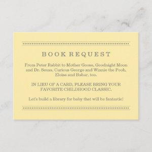 Yellow and Gray Book Request | Baby Shower Enclosure Card