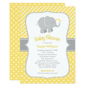 Yellow and Gray Elephant | Modern Baby Shower Invitation