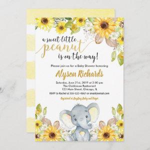 Yellow elephant gender neutral floral baby shower