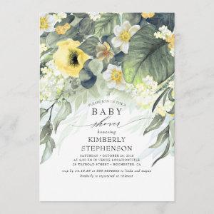 Yellow Floral Elegant Cute Baby Shower