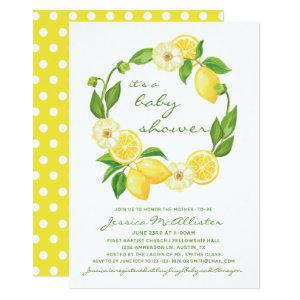 Yellow Lemon Citrus Polkadot Unisex Baby Shower Invitation