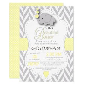 Yellow, White Gray Elephant 🐘 Baby Shower Invitation